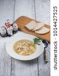 chicken soup top view  | Shutterstock . vector #1014427525