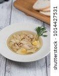 chicken soup top view  | Shutterstock . vector #1014427531