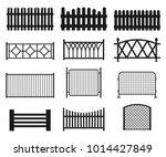 fence silhouette set. vector... | Shutterstock .eps vector #1014427849