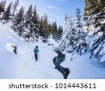 backcountry ski touring in the... | Shutterstock . vector #1014443611