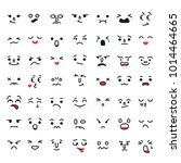 set of cartoon kawaii faces ... | Shutterstock .eps vector #1014464665