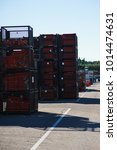 Small photo of Outdoors storage of special metal structures for the construction and erection works.