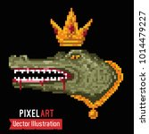 crocodile with gold chain and... | Shutterstock .eps vector #1014479227