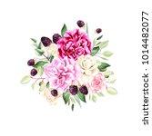 a beautiful watercolor bouquet... | Shutterstock . vector #1014482077