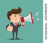 businessman with a megaphone    ... | Shutterstock .eps vector #1014484645