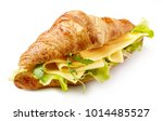 croissant sandwich with cheese... | Shutterstock . vector #1014485527