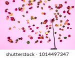 chinese roses on a pink paper... | Shutterstock . vector #1014497347