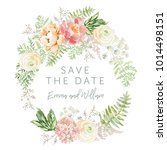 wedding wreath save the date.... | Shutterstock .eps vector #1014498151