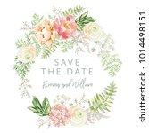 wedding wreath save the date.... | Shutterstock .eps vector #1014498151