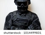 swat in black uniform  face... | Shutterstock . vector #1014499831