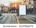 blank white billboard... | Shutterstock . vector #1014506074