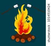 bonfire cartoon style... | Shutterstock .eps vector #1014510424