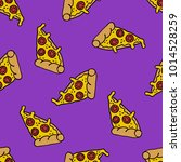 pizza seamless doodle pattern | Shutterstock .eps vector #1014528259