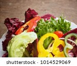 fresh vegetable salad in the... | Shutterstock . vector #1014529069