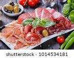 antipasto platter cold meat... | Shutterstock . vector #1014534181