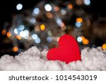 red love wooden sign on bokeh... | Shutterstock . vector #1014543019