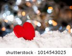 red love wooden sign on bokeh... | Shutterstock . vector #1014543025