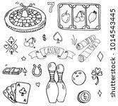 hand drawn doodle set of casino ... | Shutterstock .eps vector #1014543445