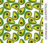 avocado seamless doodle pattern | Shutterstock .eps vector #1014547924
