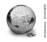 Earth Metal Puzzles. 3d Image....