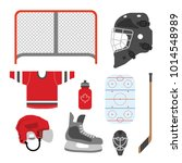 a set of simple hockey icons in ... | Shutterstock .eps vector #1014548989