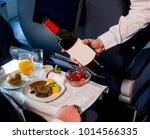 airline meal served in the... | Shutterstock . vector #1014566335