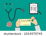 doctor signing medical... | Shutterstock .eps vector #1014570745
