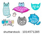 happy crazy love cat lady... | Shutterstock .eps vector #1014571285