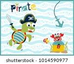 funny pirate cartoon vector... | Shutterstock .eps vector #1014590977