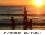 kids and teenagers silhouettes... | Shutterstock . vector #1014592534
