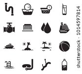 solid black vector icon set  ... | Shutterstock .eps vector #1014597814