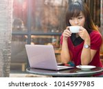 asian young working and... | Shutterstock . vector #1014597985