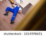 dead contractor worker felling... | Shutterstock . vector #1014598651