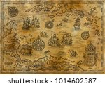 old map of the caribbean sea... | Shutterstock . vector #1014602587