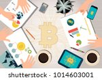 flat design desk with human... | Shutterstock .eps vector #1014603001