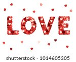 love text with red heart...   Shutterstock .eps vector #1014605305