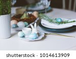 easter and spring festive table ... | Shutterstock . vector #1014613909