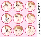 woman with make up concept on... | Shutterstock .eps vector #1014617995