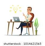 businessman has a good idea in... | Shutterstock .eps vector #1014621565