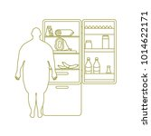 fat man stands at the fridge... | Shutterstock .eps vector #1014622171