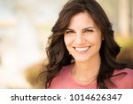 beautiful mature woman smiling. | Shutterstock . vector #1014626347