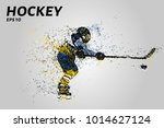 hockey player in yellow and... | Shutterstock .eps vector #1014627124