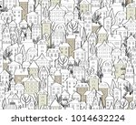 pattern with hand drawn doodle... | Shutterstock .eps vector #1014632224