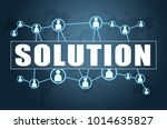 solution   text concept on blue ... | Shutterstock . vector #1014635827