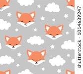 cute fox seamless pattern ... | Shutterstock .eps vector #1014639247