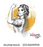 fitness women show his power  ... | Shutterstock .eps vector #1014644944