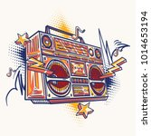 funky colorful drawn boom box | Shutterstock .eps vector #1014653194
