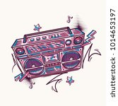 funky colorful drawn boom box   Shutterstock .eps vector #1014653197