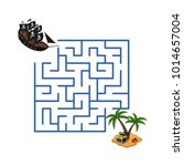 maze in cartoon style. pirate... | Shutterstock . vector #1014657004