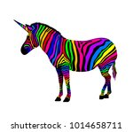 colorful zebra. unicorn zebra ... | Shutterstock .eps vector #1014658711